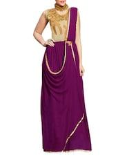 Purple Embroidered Georgette Semi-stitched Gown - PARISHA