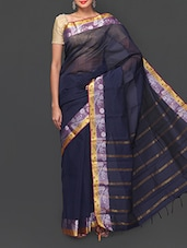 Navy Blue Woven South Indian Cotton Saree - South Indian Saree