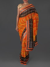 Jacquard Border Printed Georgette Saree - By