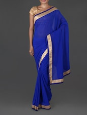 Zari Border Plain Solid Blue Sheer Georgette Saree - By
