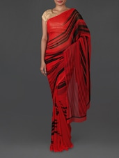 Stripes Printed Red Weightless Georgette Saree - Jmilan