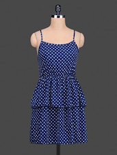 Dark Blue Heart Print Tiered Dress - Nidia