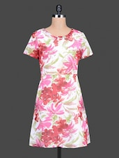 Multicolour Printed Polygeorgette Short Sleeves Dress - Nidia