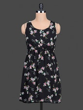 Black Floral Printed Polygeorgette Sleeveless Dress - Nidia