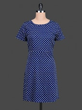 Blue Printed Polycrepe Short Sleeve Dress - Nidia