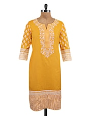 Mustard Cotton Embroidered Kurta - By