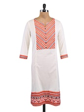 White Cotton Printed Kurta - By