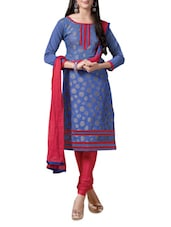 Purple Jacquard Chanderi Silk Suit Set - Khushali