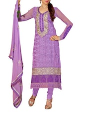 Purple Embroidered Satin And Cotton Suit Set - Khushali