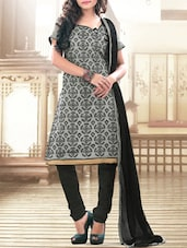 Grey Embroidered Unstitched Suit Set - Fabfirki