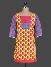 Quarter Sleeves Leaves Printed Cotton Kurta - Taaga