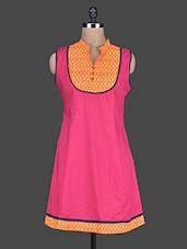 Pink Mandarin Collar Sleeveless Cotton Kurta - Taaga