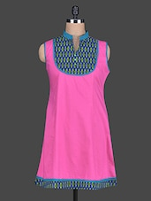 Pink Mandarin Collar Sleeveless Cotton Kurta - Taaga