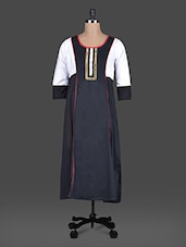 Quarter Sleeves Colour Block Cotton Kurta - Aana