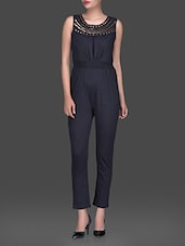 Elastic Waist And Embellished Neckline Knitted Jumpsuit - HEART MADE