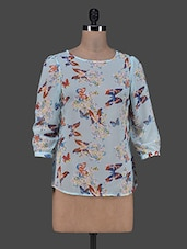 Blue Quarter Sleeves Butterfly Print Top - Trend 18