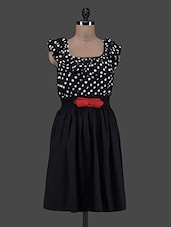 Ruffled Neck Polka Dot Printed Top Crepe Dress - Eavan