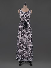 Round Neck Sleeveless Floral Print Georgette Maxi Dress - Eavan