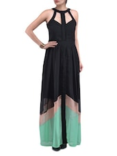 Black Georgette Solid Maxi Dress - By