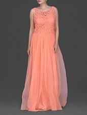 Lace Overlay Sleeveless Net Maxi Gown - Eavan