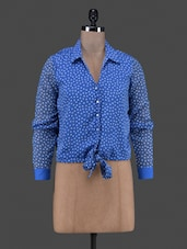 Polka Dot Printed Tie Up Chiffon Shirt - By