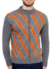 orange cotton blend pullover -  online shopping for Pullovers