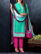 Embroidered Spring Green And Pink Suit Set - Crazy