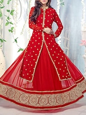Embroidered Red Georgette Suit Set With Jacket - Crazy