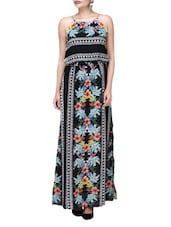 Black Polycrepe Printed Maxi Dress - Envy Me NY