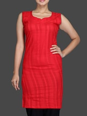 Red Cotton Sleeveless Kurta - By