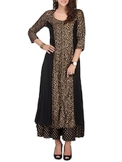 Black Rayon Long  Kurta - By