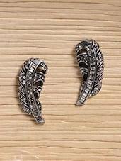 Silver Metallic Studded Feather Earrings - Infuzze