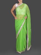 Light Green Chiffon Gota Patti Saree - K R Fashion