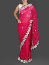 Magenta Pure Georgette Gota Patti Saree - K R Fashion