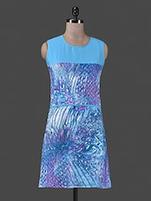 Blue Printed Round Neck Polycrepe Dress - Vastrasutra- The Art Of Dressing Up