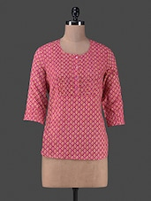 Pink Printed Quarter Sleeves Cotton Top - By