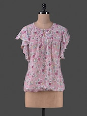 Pink Printed Polyester Top - By