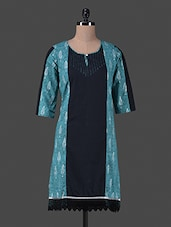 Blue Trimmed Lace Printed Cotton Kurta - Vastrasutra- The Art Of Dressing Up