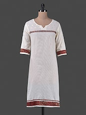 White Patch Worked Cotton Kurta - Vastrasutra- The Art Of Dressing Up
