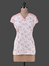 Pink Printed Cotton Short Sleeve Top - Vastrasutra- The Art Of Dressing Up