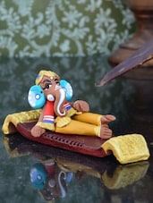 Multicolour Terracotta Lord Ganesha Status - By