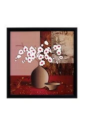 Multicolour Abstract Pot And Flower Theme Synthetic Wood Framed UV Art Print - ECraftIndia