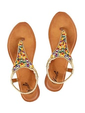 gold faux leather back strap sandals -  online shopping for sandals