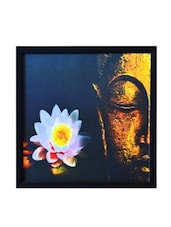 Multicolour Buddha Synthetic Wood Framed UV Art Print - ECraftIndia