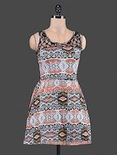 Sheer Lace Back Printed Dress - Feyona