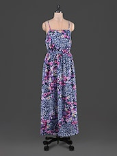 Floral & Animal Print Camisole Neck Maxi Dress - Feyona