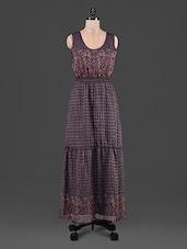 Printed Sleeveless Chiffon Maxi Dress - By