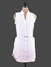 Dot Printed White Shirt Dress - Klick2Style