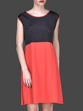 Red And Black Sleeveless Dress - Klick2Style