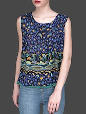 Colourful Printed Top With Back Zipper - Klick2Style